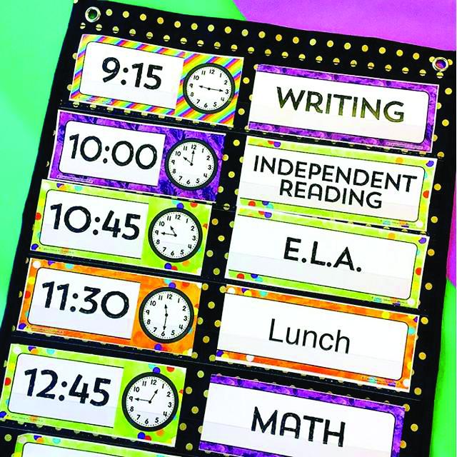 Keeping a schedule is a great way to use Pocket Charts